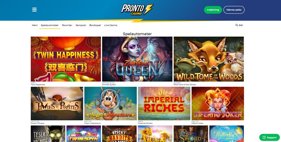 pronto casino spelautomater